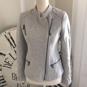 GAP Moto jacket in light gray sweater material